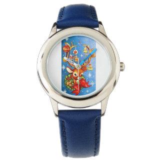 Reno dulce estupendo del navidad del vintage relojes de pulsera
