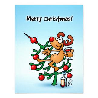 """Reno en un árbol de navidad invitación 4.25"""" x 5.5"""""""