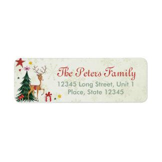 Reno femenino de las Felices Navidad - etiquetas Etiquetas De Remite