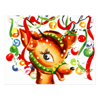 Reno festivo del navidad tarjeta postal