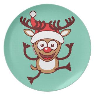 Reno fresco de Navidad que lleva el gorra de Santa Plato De Cena