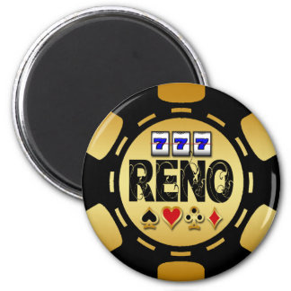 RENO GOLD AND BLACK POKER CHIP FRIDGE MAGNETS