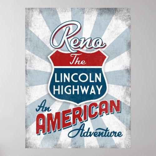 Reno Lincoln Highway Vintage America Nevada Poster