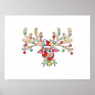 Reno lindo de Rudolf con las tarjetas de las luces Impresiones