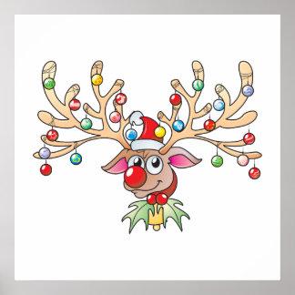 Reno lindo de Rudolf con las tarjetas de las luces Poster