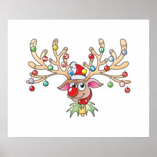 Reno lindo de Rudolf con las tarjetas de las luces Posters