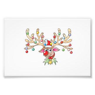 Reno lindo de Rudolf con las tarjetas de las luces Arte Fotográfico