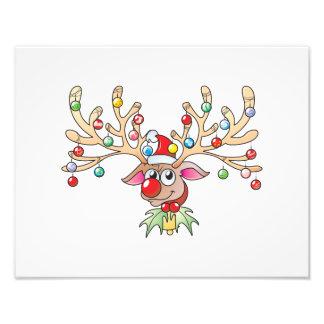 Reno lindo de Rudolf con las tarjetas de las luces Fotos
