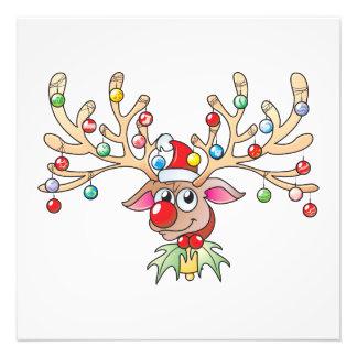 Reno lindo de Rudolf con las tarjetas de las luces Fotografias