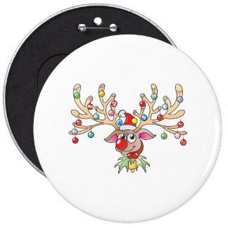 Reno lindo de Rudolf con los botones de las luces Pin