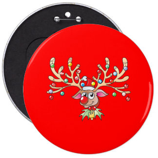Reno lindo de Rudolf con los botones de las luces Pins