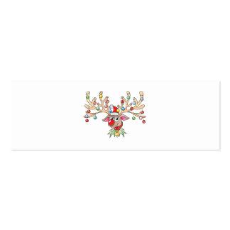Reno lindo de Rudolf con los botones de las luces Tarjetas De Visita Mini