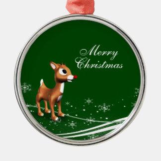 Reno lindo del dibujo animado ornamento de navidad