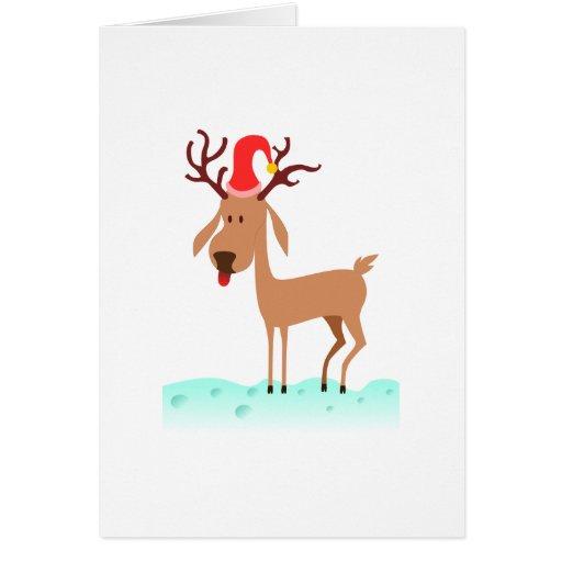 Reno lindo del dibujo animado del navidad felicitación