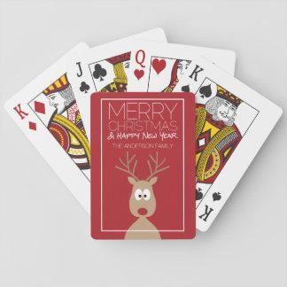 Reno lindo del dibujo animado - Felices Navidad Cartas De Juego