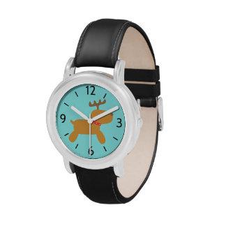 Reno lindo del dibujo animado para los niños relojes de pulsera