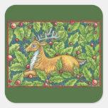 Reno lindo del navidad con acebo colcomanias cuadradas