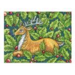 Reno lindo del navidad con acebo tarjeta postal