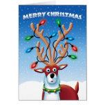 Reno lindo del navidad con las luces en las astas tarjeta de felicitación