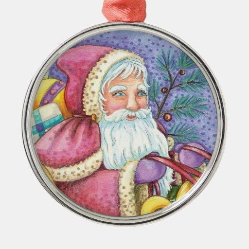 Reno lindo del trineo de Papá Noel del navidad del Adorno Navideño Redondo De Metal