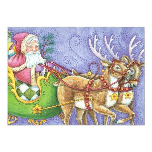 """Reno lindo del trineo de Papá Noel del navidad del Invitación 5"""" X 7"""""""