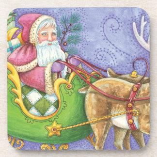 Reno lindo del trineo de Papá Noel del navidad del Posavasos De Bebidas