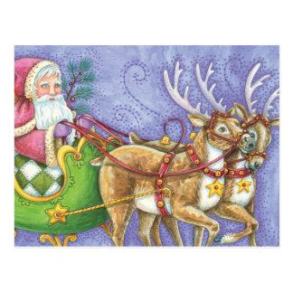 Reno lindo del trineo de Papá Noel del navidad del Postales