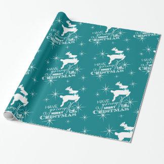 Reno mágico del navidad (azul) papel de regalo