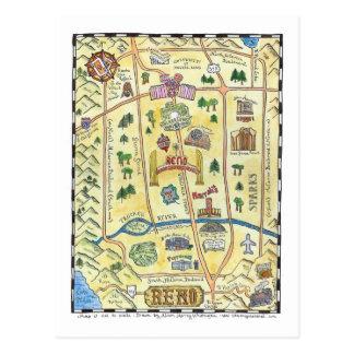 Reno Map Postcard
