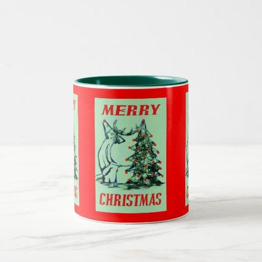 Reno, navidad, árbol taza de café