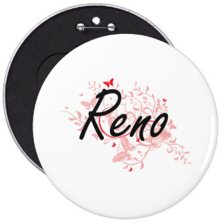 Reno Nevada City Artistic design with butterflies Pinback Button