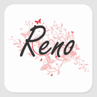 Reno Nevada City Artistic design with butterflies Square Sticker