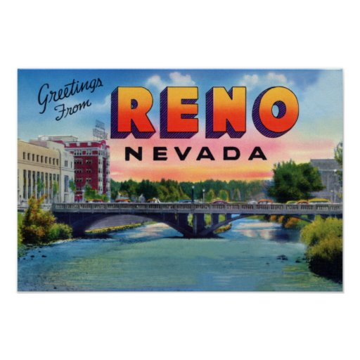 Reno Nevada Large Letter Greetings Poster