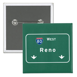 Reno Nevada nv Interstate Highway Freeway : Pinback Button