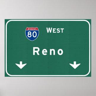 Reno Nevada nv Interstate Highway Freeway : Poster