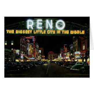 Reno Nevada Sign on Virginia Street at Night Card