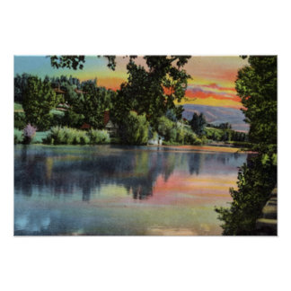Reno Nevada Sunset Along the Truckee River Poster