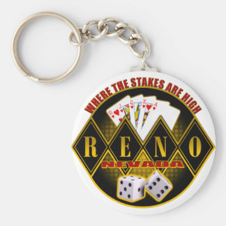 Reno, Nevada - Where The Stakes Are High Basic Round Button Keychain