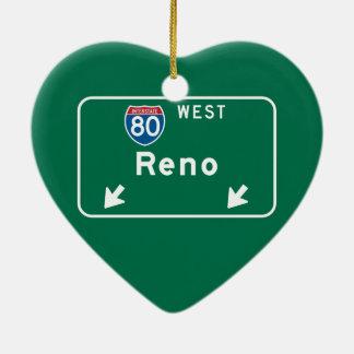 Reno, NV Road Sign Ceramic Ornament