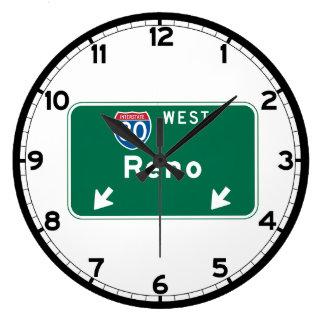 Reno, NV Road Sign Large Clock
