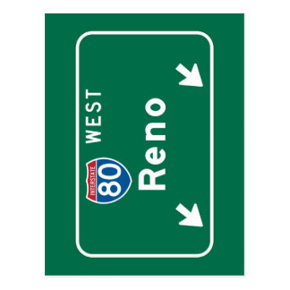Reno, NV Road Sign Postcard