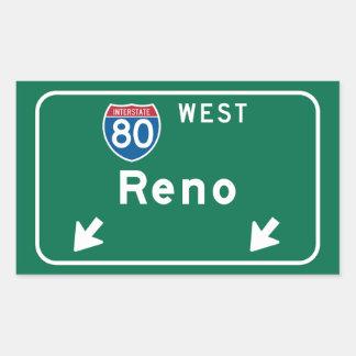 Reno, NV Road Sign Rectangular Sticker