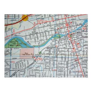 RENO, NV Vintage Map Postcard