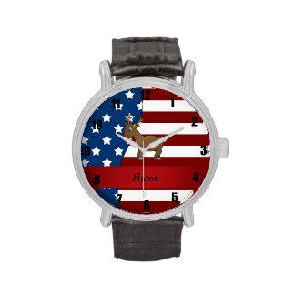 Reno patriótico conocido personalizado reloj