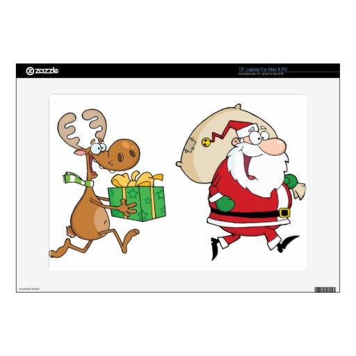Reno que corre con Santa que entrega los regalos Skins Para Portátil