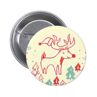Reno rojo con el gorra en bosque retro del navidad pin
