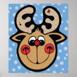 reno rojo de la nariz de Rudolph Poster