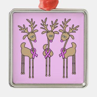 Reno rosado de la cinta - cáncer de pecho adorno navideño cuadrado de metal