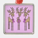 Reno rosado de la cinta - cáncer de pecho ornamentos para reyes magos