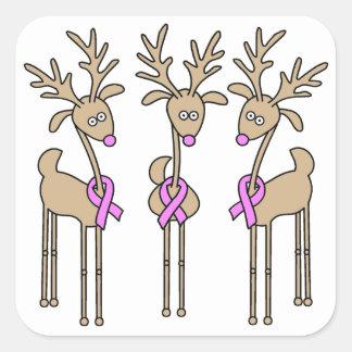 Reno rosado de la cinta - cáncer de pecho pegatina cuadrada